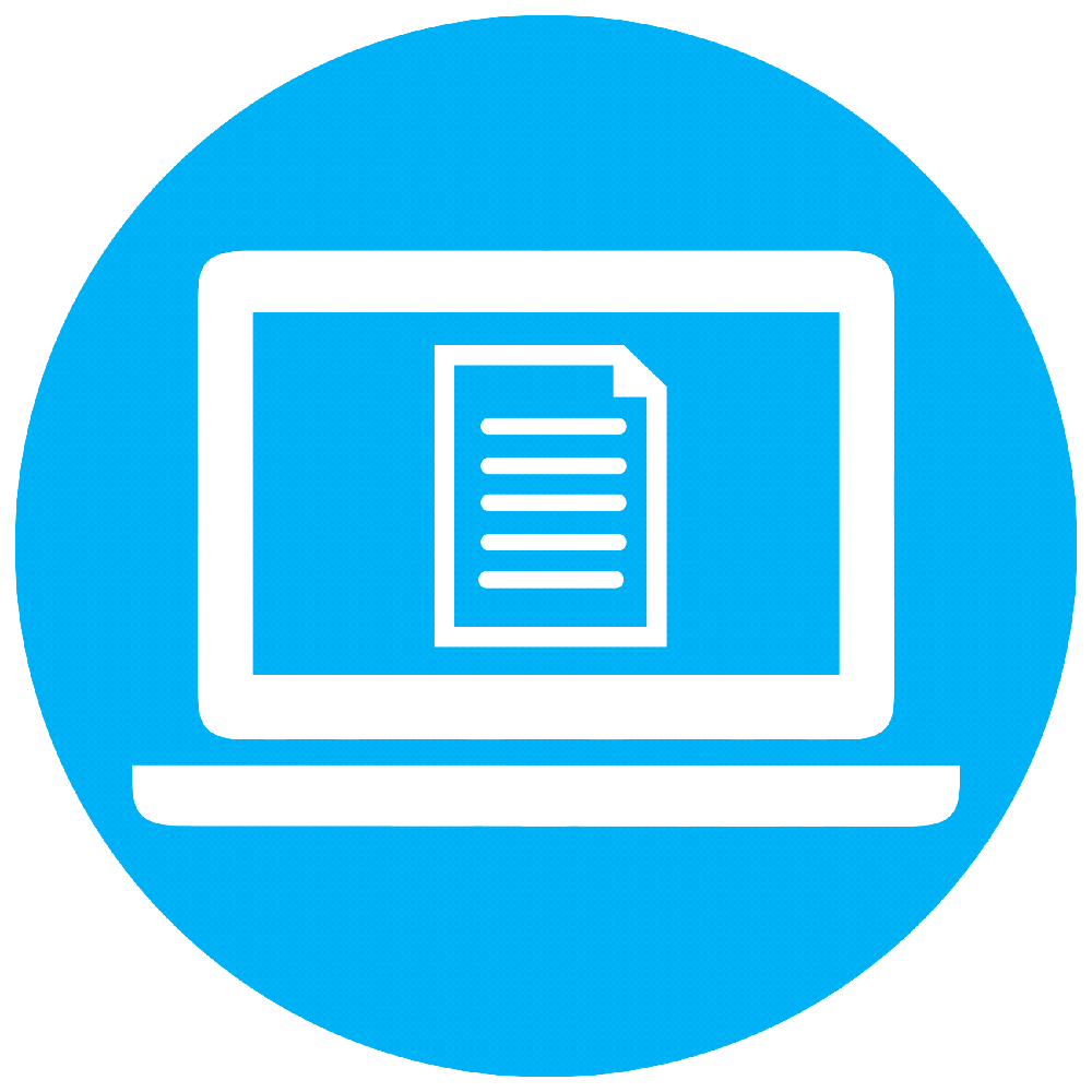 Computer screen with document icon
